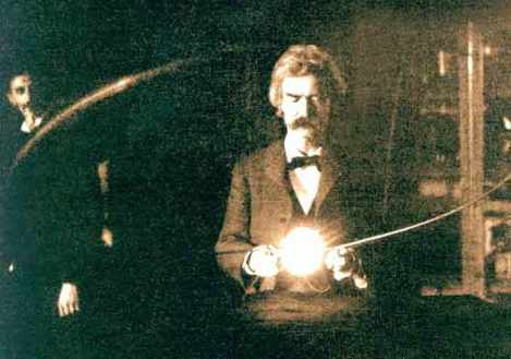 1894 photo of Mark Twain in the New York City laboratory of his good friend, Nikola Tesla.